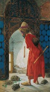 """Türkische Gemälde von Osman Hamdi Bey (*1842) mit dem Titel: """"Kaplumbağa Terbiyecisi"""", deutsch: der Schildkrötenerzieher."""