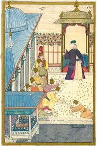 Sultan Ahmet III:. wirft das Geld zu Füßen der Janitscharen
