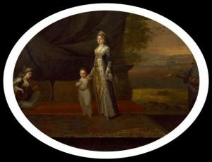 Mary Wortley Montagu in traditionell, türkischer Tracht und ihr Sohn Edward Edward Wortle in Konstantinopel, zusammen mit ihren Bediensteten. Ein Gemälde von Jean-Baptiste van Mour aus dem Jahre 1717.