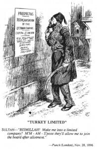 Karikatur aus dem Punch von 1896: Sultan Abdülhamid II. muss erstaunt zur Kenntnis nehmen, dass Russland, Frankreich und Großbritannien die Umwandlung seines Reiches in eine Beteiligungsgesellschaft beschlossen haben.