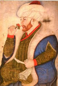Sultan Mehmed II riecht an einer Rose. Dieses Bild ist im Topkapi Palast