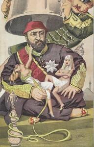 Karikatur: Sultan Abdulaziz I., erschienen im Londoner Satiremagazin Vanity Fair, 1869