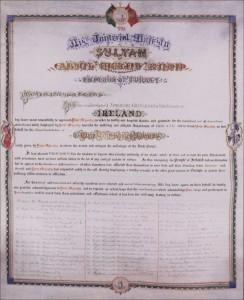 Brief der Dankbarkeit von den Adeligen und Einwohnern von Irland an den Sultan