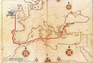 Die Route der omanische Flotte zur irischen Hafenstadt Drogheda
