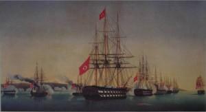 Osmanische Flotte mit Hilfsgütern vor der irischen Hafenstadt Drogheda