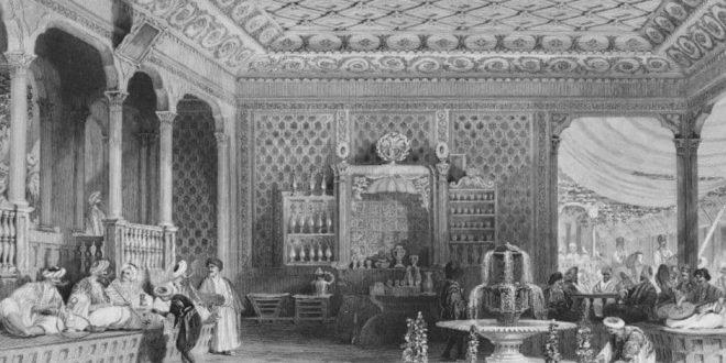 Kaffeehaus 19. Jahrhundert,illustriert von Thomas Allom und beschrieben Rev. Robert Walsh, (1772-1852) in Constantinople / Public Domain
