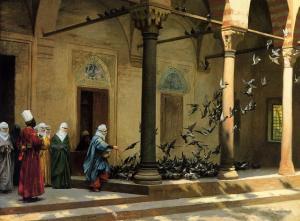 Tauben in der Moschee (Cami avlusunda güvercinler) von Jean Leon Gerome * 11. Mai 1824 in Vesoul
