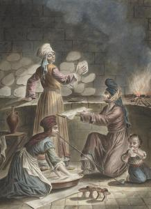François-Marie Rosset - Femmes Turcs turques de Serquin, leur manière de faire leur pain - Syrie - 1790