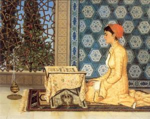 Türkisches Mädchen liest im Palast