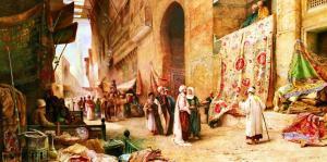 Teppichbasar in Kairo (Kahire'de Halı Pazarı), Charles Robertson * 1862