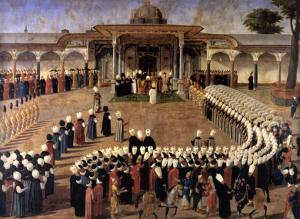 Sultan Selim III holding an audience in front of the Gate of Felicity. Courtiers are assembled in a strict protocol. Oil on canvas. Topkapı Sarayı Müzesi, Istanbul (Inv. 17/163)