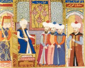 Mehmed I. empfängt Würdenträger, zwischen 1413 und 1421