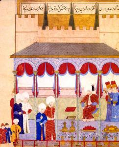 """Sultan Selim II receiving Seyyid Lokman in the Çorlu-Palace in Edirne. Seyyid Lokman was a famous writer, who was known for the production of the """"şahname"""", or royal books. Ottoman miniature painting, from the """"Şahname-ı Selim Han"""""""
